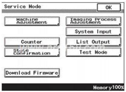柯美Bizhub C200/C210/震旦AD C218彩色复印机维修模式功能树(菜单)